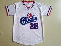 BONJEAN New Cheap Mens 28 Bo Jackson Chicks Throwback Baseball Jerseys White Movie Jersey Stitched American