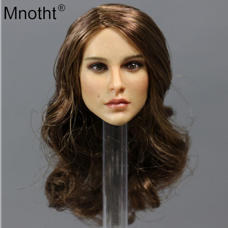 Mnotht 1/6 soldier European female Head Sculpt Scale Long hair Natalie Portman accesories toy for 12'' action figure body parts mnotht 1 6 scale female body figures
