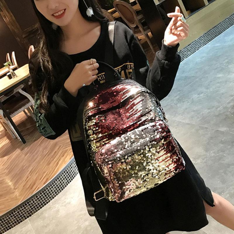 Sequins Glitter Bling Backpacks Teenager Girls PU Leather Backpack Girls Shoulder School Bag Travel Rucksack 5
