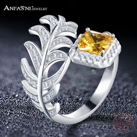 ANFASNI 2017 Newest 925 Sterling Silver Ring Women S Jewelry Square Yellow Stone Leaves Open Ring