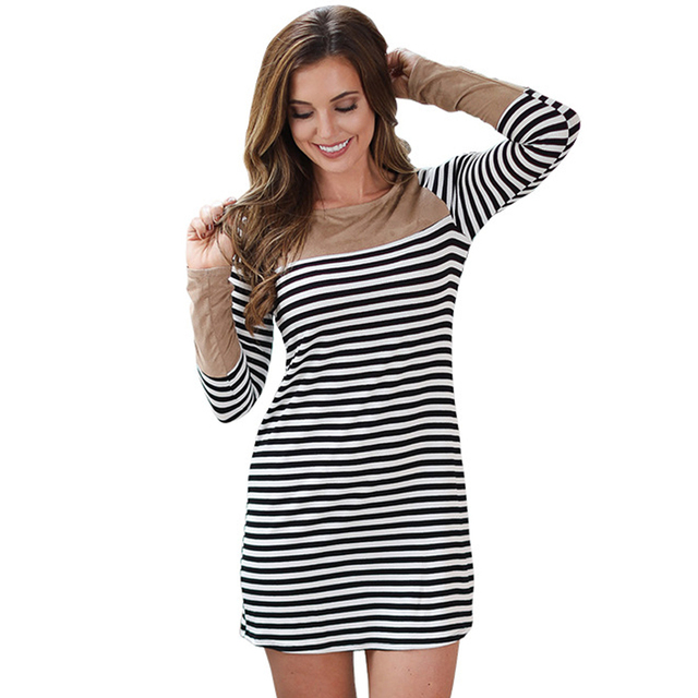 Summer Black White Strip Party Mini Dress Sexy O Neck Long Sleeve Patchwork Women  Vestidos Fashion Office Lady Short Dress 5d51628cc6e2