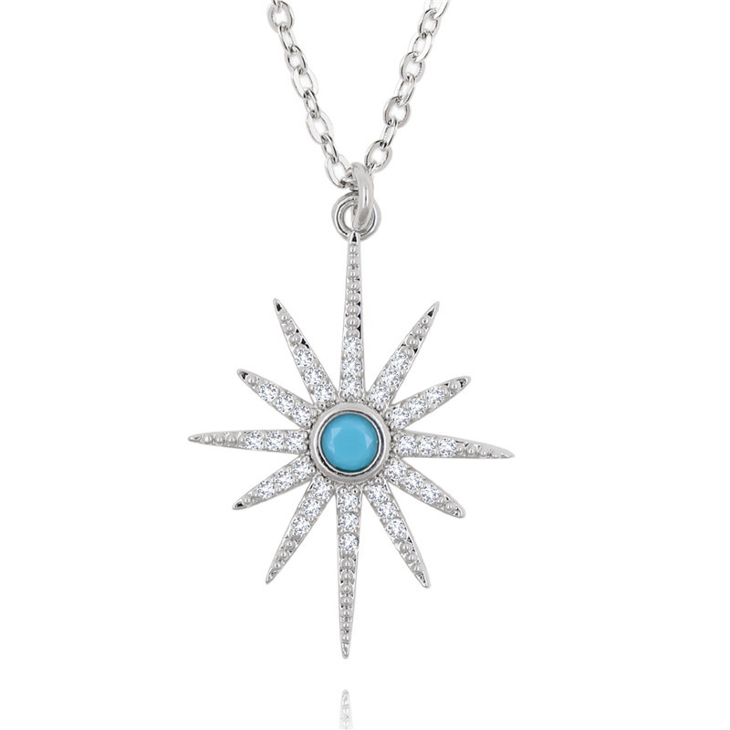 CZ-Starburst Pendant Paved Bling Cubic Zircon 2019 Trendy Pendant Necklace Women (7)