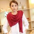 Nueva llegada 2017 color sólido velo bufandas de primavera y otoño de las mujeres de color sólido Sólido bufanda de algodón envío gratis