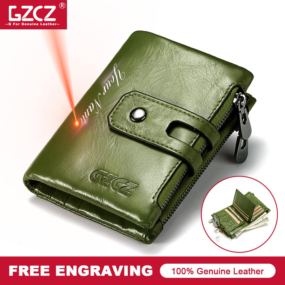 GZVZ 100% Original Genuine Leather Women Wallet Free Engraved Short Vallet Purse Money Bag Case Green Walet Portomonee For Gift(China)