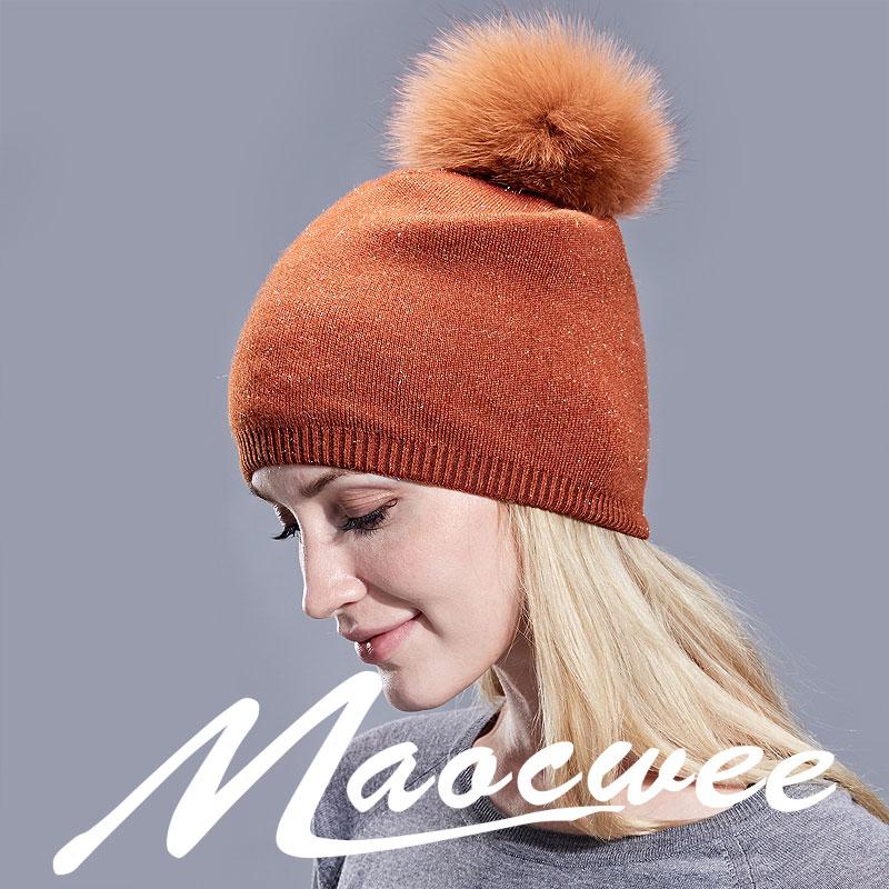 2a0c255f669da3 Natural Dyeing Fox Fur Pom Poms Hat Female Elegant Wool Knitted 2018 Winter  Brand New Women's Gold Wire Hats Skullies Beanies