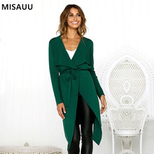 MISAUU Casual Women Jacket 2018 Autumn Winter Coat Female Cardigan Outerwear Thicken Coats Slim veste femme hiver Bandage jacket