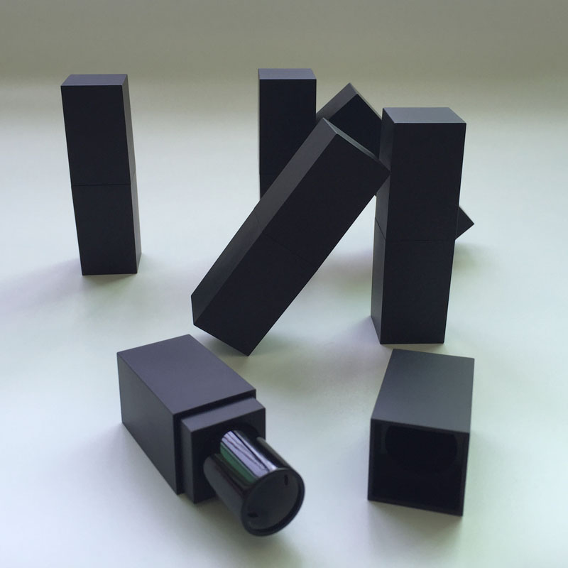 High Quality, Empty, Magnetic ,Elegant, MATT , Black square Lipstick tube