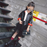 Newest Fashion Girls Baby Pu Leather Jacket Coat Spring Autumn Children Clothes Turn Down Collar Outwear