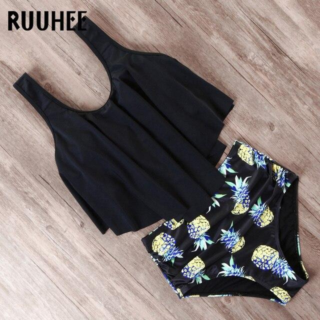 RUUHEE Bikini 2019 Swimsuit Swimwear Women High Waist Tankini Bikini Set Push Up Bathing Suit Women Beachwear Plus Size Swimwear 5