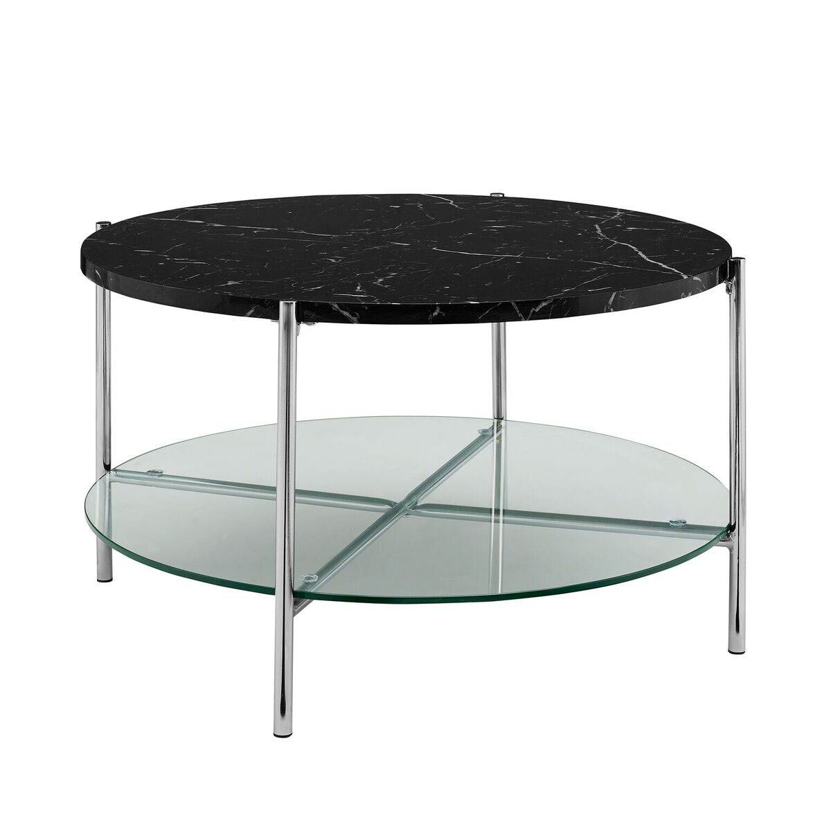 WE Furniture Round Coffee Table Black Marble Top Glass Shelf - Round glass coffee table with chrome legs