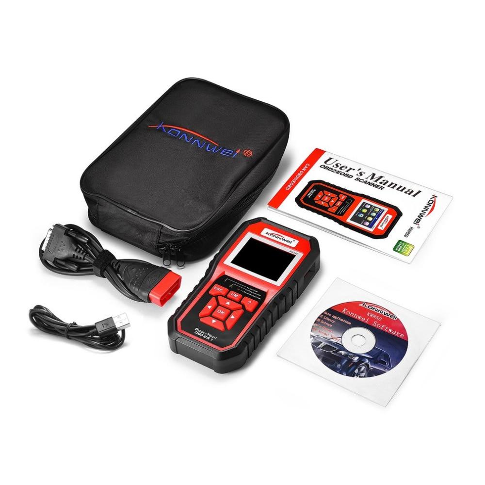 KONNWEI KW850 OBDII Auto Car Diagnostic Scanner Code Reader Car Vehicle Scanning Tool Support 8 Languages Hot Selling 2 8 lcd car vehicle diagnostic tool scanner red