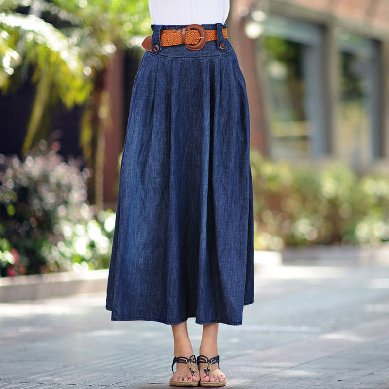 07d4a35c7a Sokotoo Women's casual elastic waist wide flare skirt Lady's plus large  size ankle length long thin denim skirt with belt-in Skirts from Women's  Clothing on ...