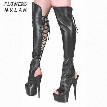 2018 Roma invierno nueva rodilla Botas Roma 2018 zapatos mujer Sexy Peep Toe f45efe