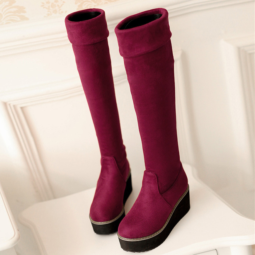 Thigh High Wedge Boots - Cr Boot