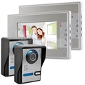 "DIYSECUR 7"" Lcd Color Video Doorbell Door Phone Kit Hands-free 2 Monitors + 2 Ir Cameras"