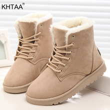 KHTAA Woman Winter Ankle Snow Boots Female Warm Plush Fur Suede Platform Lace Up Shoes 2017 Ladies Fashion High Quality Botas