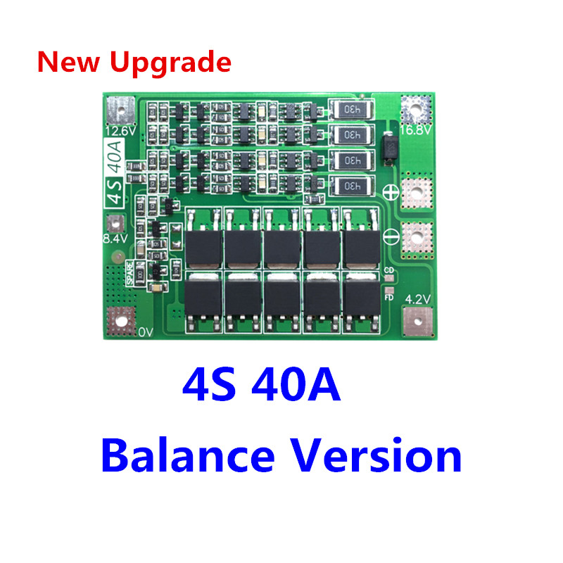 Upgrade 4S 40A Li-ion Lithium Battery 18650 Charger PCB BMS Protection Board with Balance For Drill Motor 14.8V 16.8V Lipo Cell aiyima 2pc 4s 14 8v 12a li ion lithium battery bms 18650 charger protection board module 16 8v overcharge over short circuit