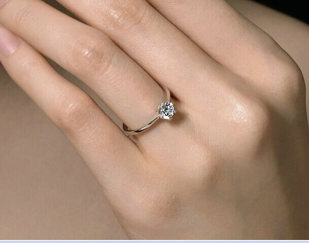 999 sterling silver ring female index finger ring 1 carat diamond