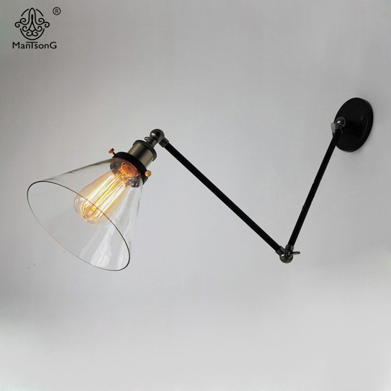 Wall Lamp Glass Lampshade Iron E27 Holder Retro Minimalism Industrial Loft Lighting Fixtures For Living Room Cafe Indoor Lights 2 color northern europe metal wall lamp modern simple minimalism iron wall lighting fixtures for living room aisle