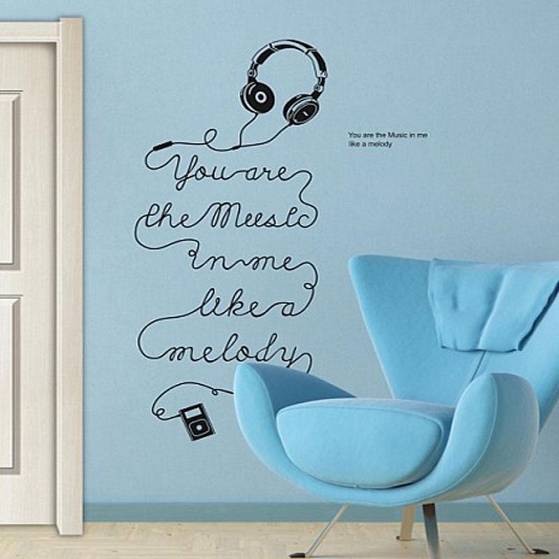 Free Shipping Music Headset English Quote Saying Vinyl Wall Art