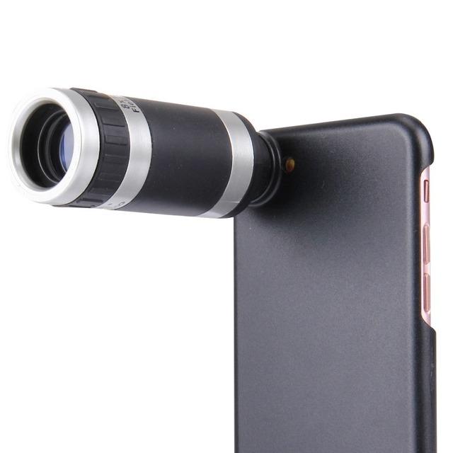 Teléfono de alta calidad de plástico cubierta de la caja de la pc para iphone 7 Smartphone Teléfono Móvil Lentes de Zoom de La Lente 8X Telescopio Del Teléfono Móvil Clip de lente