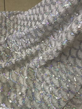 sequins lace fabric SYJ-63418 Popular embroidery African tulle lace French net fabric