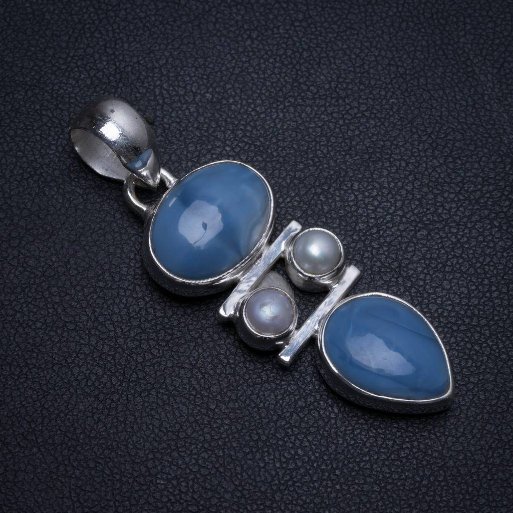 Natural Owhyee Opal and River Pearl Handmade Mexican 925 Sterling Silver Pendant 2 T0051Natural Owhyee Opal and River Pearl Handmade Mexican 925 Sterling Silver Pendant 2 T0051