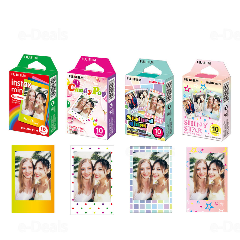 Fujifilm Instax Mini Instant Film Rainbow & Staind Glass & Candy Pop & SHINY STAR Film  10 Sheets X 4 Assort Value Set-in Film from Consumer Electronics    1