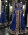 Azul Royal Estilo Marroquino Kaftan com Bordado do Ouro Frisado Mangas Compridas Árabe Muçulmano Vestidos de Noite Formal Do Partido Vestido
