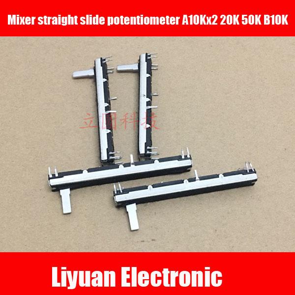 10 pces 75mm para o potenciômetro reto a10kx2 20 k 50 k b10k da corrediça do misturador do soundcraft fader estéreo