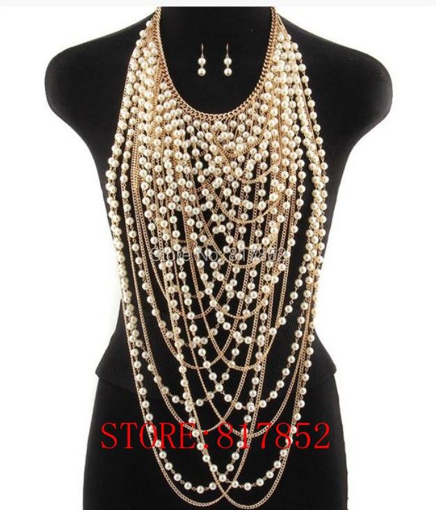 LIVRAISON GRATUITE! Nouveau STYLE P03 blanc IMITATION perles chaînes bijoux de corps or couleur chaînes perles bijoux de corps