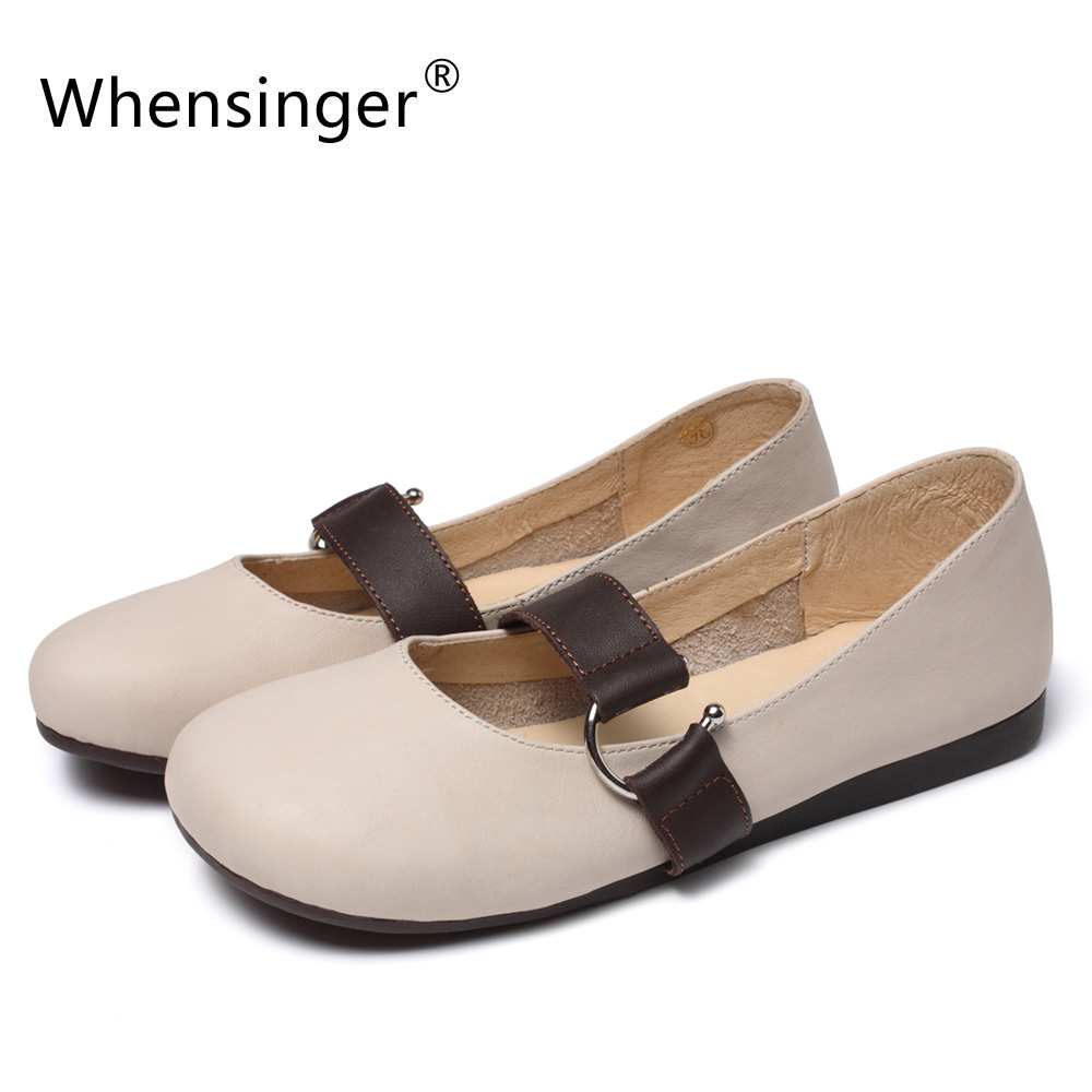 Whensinger - 2018 New Women Fashion Shoes Genuine Leather Flats 3305 whensinger 2017 new women fashion boots genuine leather fashion shoes rubber sole hands sewing 2 color 7126