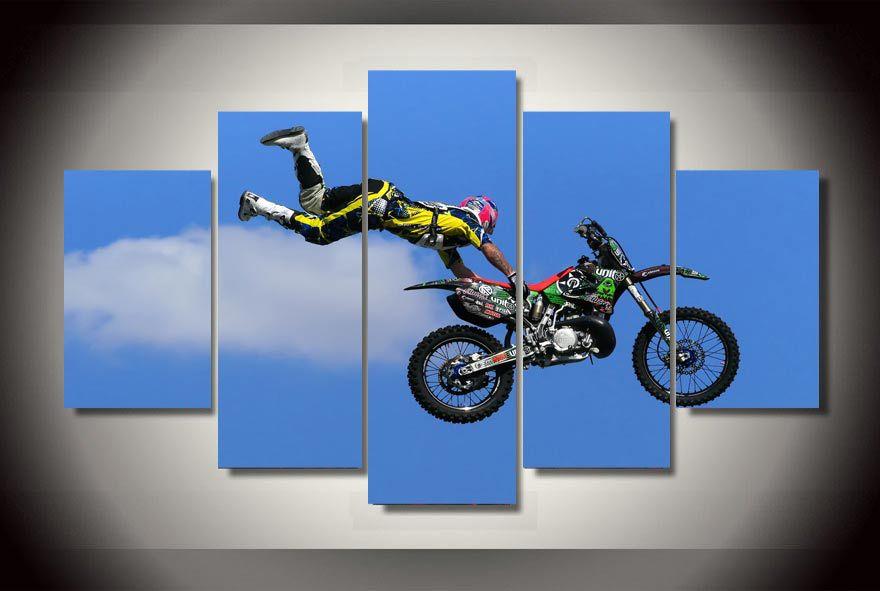 hd imprimir pintura de deportes de la motocicleta en la lona en la pared unids