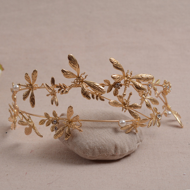 Sweet Temperament Bride Asian Golden Dragonfly Tiara Wedding Hair Accessories Whole