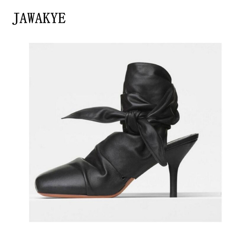 New Fashion Design Black Sheepskin Ankle Cross-tied Knot Dress Shoes Woman Square toe Slingback thin High Heel Pumps JAWAKYE black knot design cross front v neck cap sleeves crop top