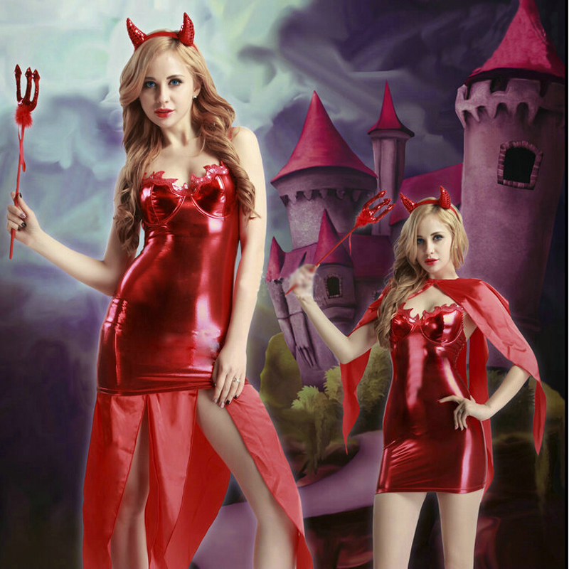 Halloween Colplay Clothing Red Devil Suit Costume Women Sex Clothing  Elastic Tights for Holiday Party-in Holidays Costumes from Novelty &  Special Use on ...
