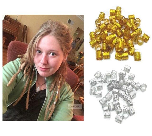 100 יחידות זהב כסף חרוזים ראסטות אזיקי צמת שיער צמות Tube פיליגרן קליפ מתכוונן טבעת נעילת כלים לקישוט