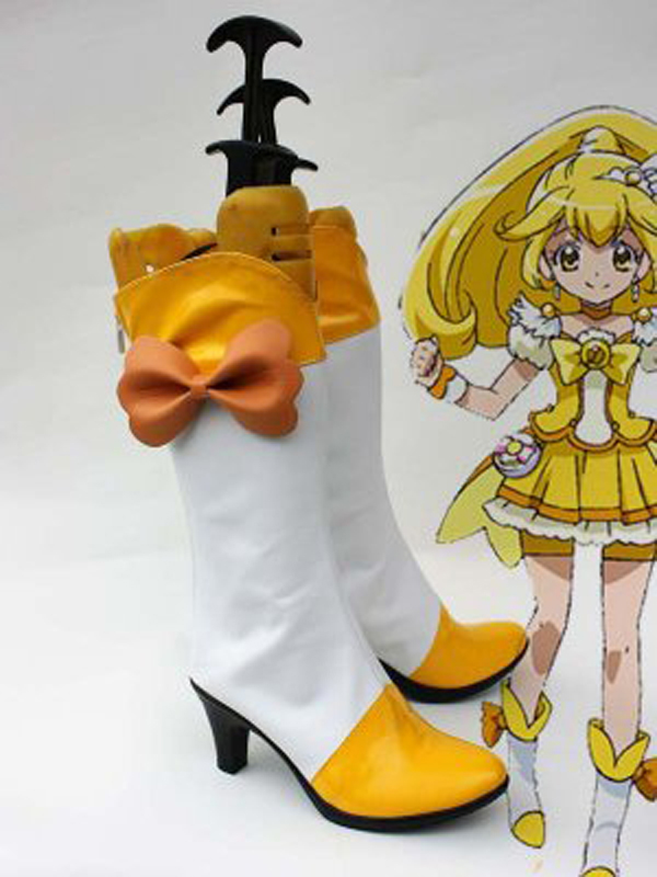 Smile Pretty Cure Kise Yayoi Cure Peace Yellow Cosplay Boots Shoes Anime Party Cosplay Boots Custom Made for Adult Women Shoes
