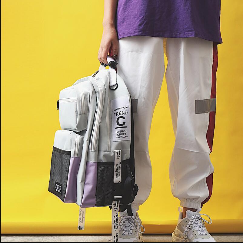Harujuku sac à dos de grande capacité Style BF sac à dos de loisirs pour garçons et filles sac à dos à plusieurs étages étanche à l'eau