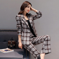 2017 Autumn New Women S Double Breasted Checkered 2 Pieces 1 Set Small Suit Trousers Fashion