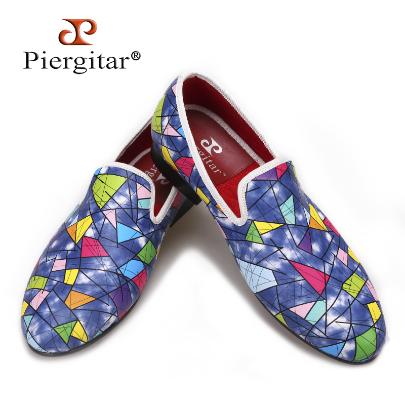 Piergitar 2017 New Handmade men loafers with Multi-color design Fashion party and show mens casual shoes male somking slippers