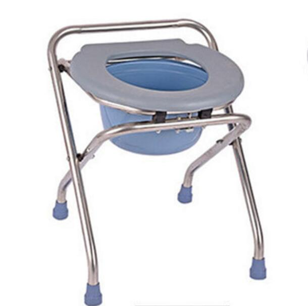 High quality Folding the old Commode chair pregnant woman bathroom chair skidproof mobile potty chair for Patients mds89664h steel bedside commode