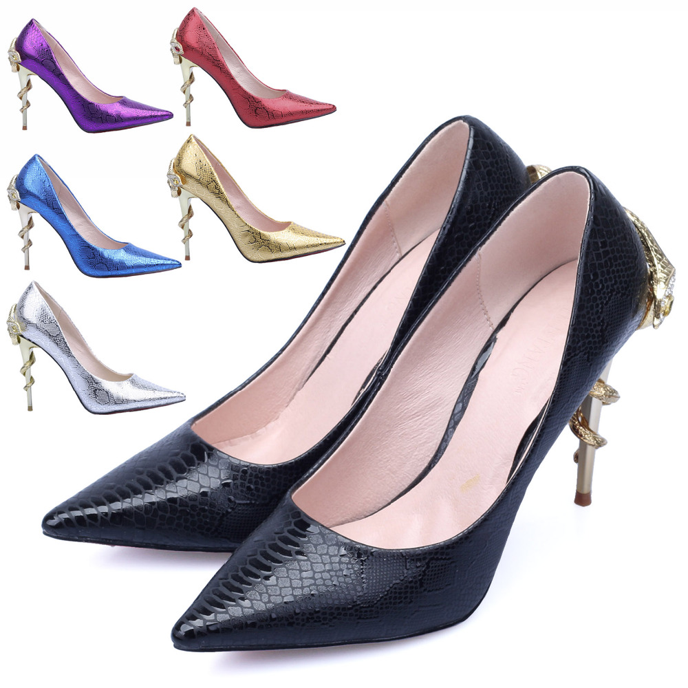 Women s Fashion Pumps In Spring Autumn 2015 New Metal Decoration With Snake Party Dress Pumps