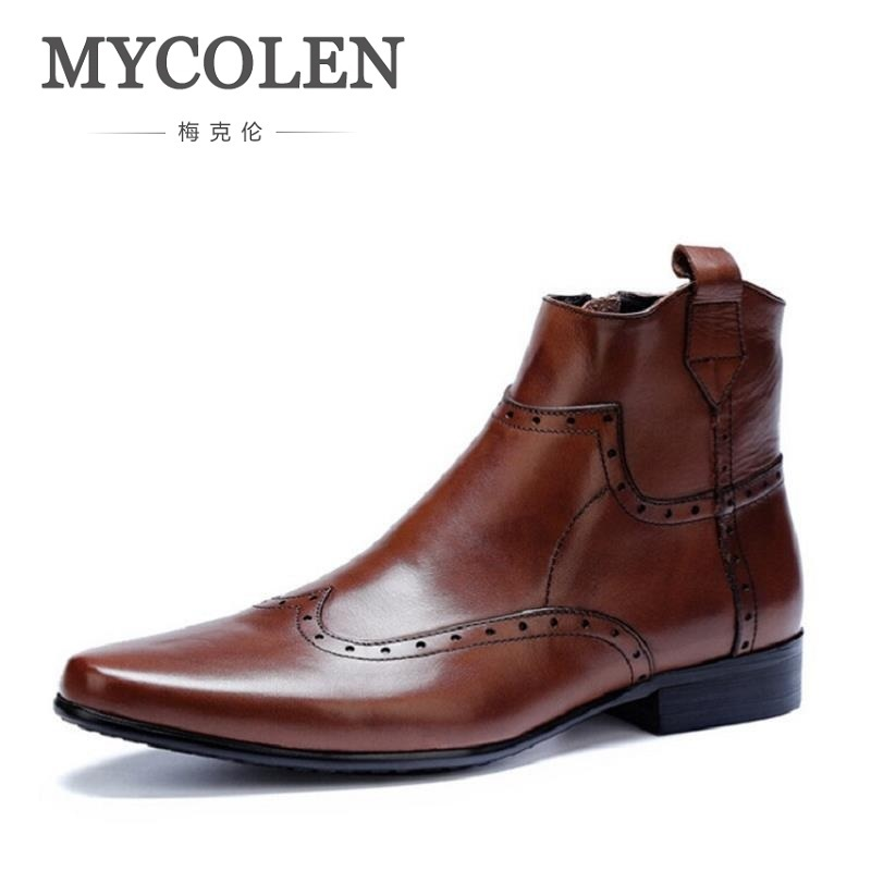 MYCOLEN Top Quality Men Ankle Boots Casual Black Leather Flats Autumn Winter Designer Zipper Chelsea Boots Chaussures Homme