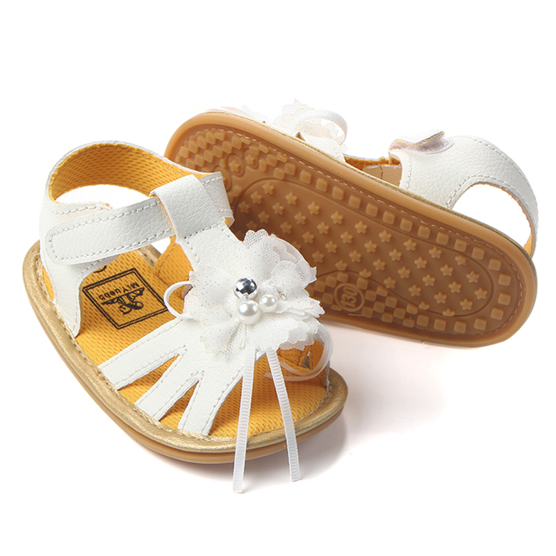 Classic Baby Girl Toddler Shoes Newborn Summer Breathable Non-Slip Fashion Pearl White Flower Decoration Princess Girls Shoes