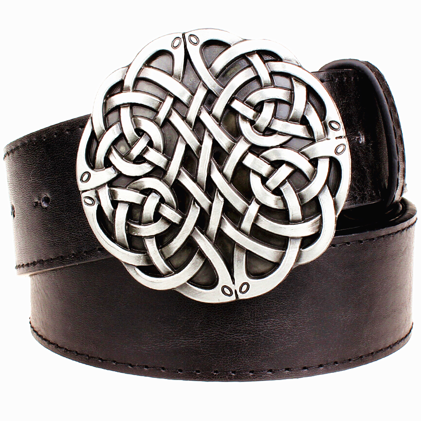 ③Correa de cuero nudo celta serie hebilla de metal geométrico ...