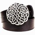 Moda cinto de couro Celta do nó série fivela de metal geométrica weave padrão cintos de homens simples casuais tendência cinto das calças de brim das mulheres