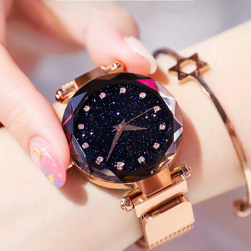 Fashion Starry Sky Watch Magnetic Women Star Diamond Clock Ladies Stainless Steel Mesh Watch Waterproof Quartz Watch Wrist Watch