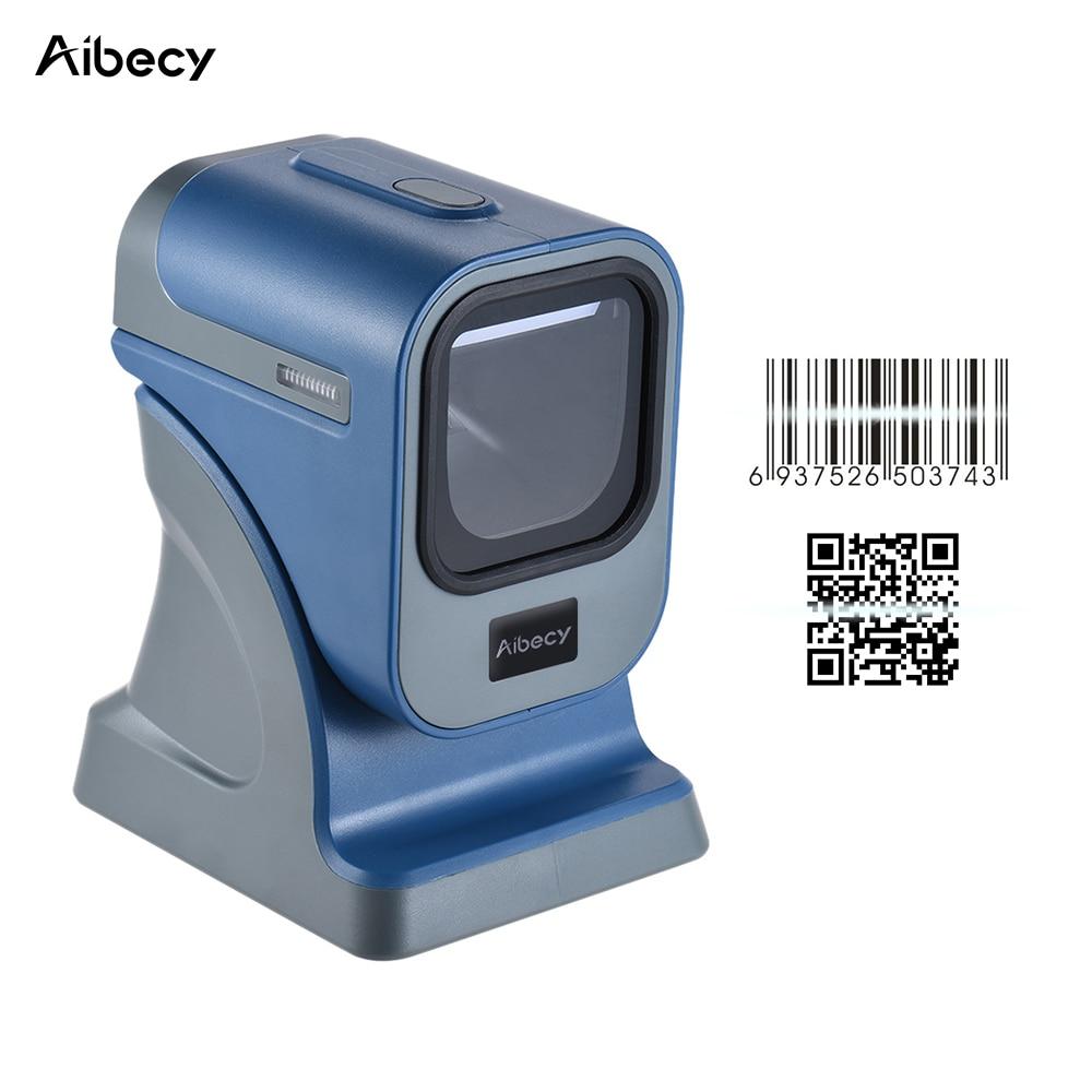 Aibecy Haute Vitesse Omnidirectionnel 1D/2D Presentaion Barcode Scanner Lecteur Plate-Forme Haute Vitesse avec USB Câble pour Magasins Express