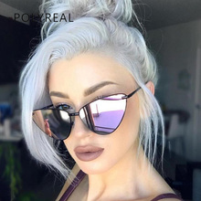 POLYREAL 2018 New Fashion Women Cat Eye Sunglasses Brand Designer Vogue Female Mirror Shades Ladies Cateye Sun Glasses